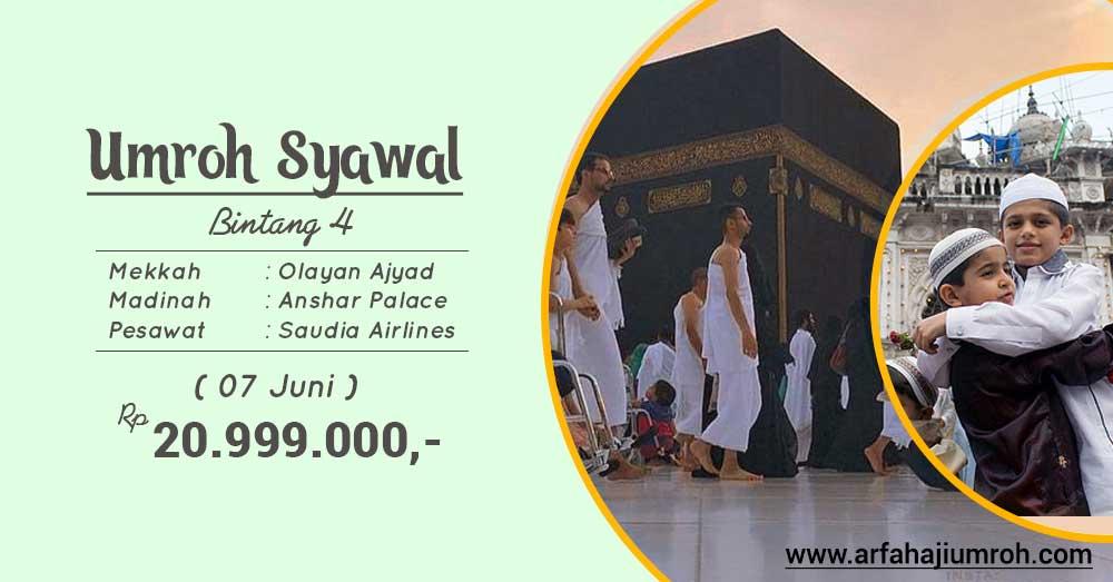 umroh syawal bertepatan juni 2019 paket bintang 4 arfa tour